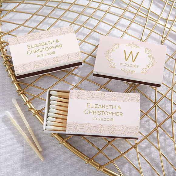 Personalized White Matchboxes - Modern Romance (Set of 50) - InCasaGifts