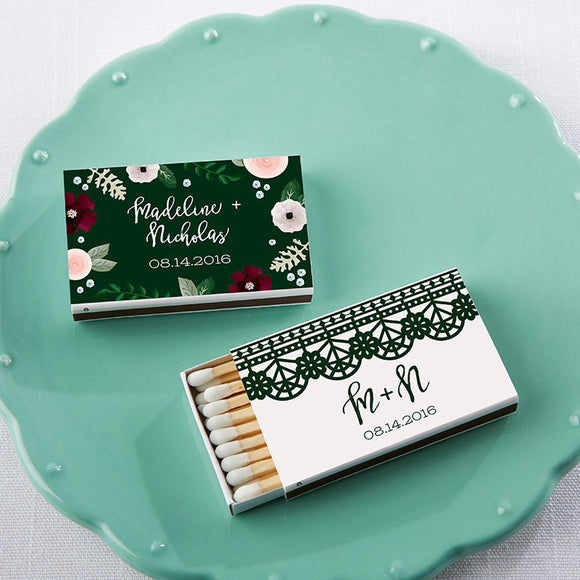 Personalized White Matchboxes - Romantic Garden (Set of 50) - InCasaGifts