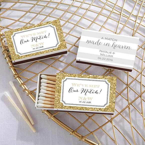 Personalized White Matchboxes - Wedding Day Designs (Set of 50) - InCasaGifts