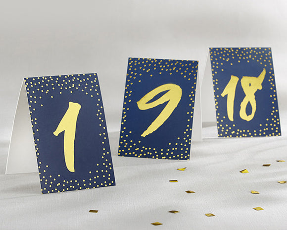 Navy and Gold Foil Tented Table Numbers (1-18) - InCasaGifts