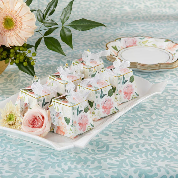 Floral Teapot Favor Box (Set of 24)