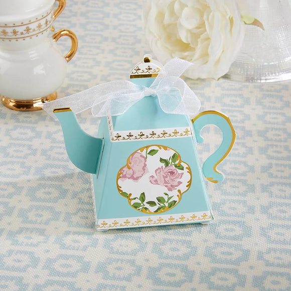 Tea Time Whimsy Teapot Favor Box - Blue (Set of 24) - InCasaGifts