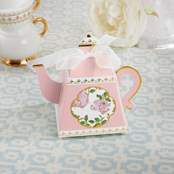 Tea Time Whimsy Teapot Favor Box - Pink (Set of 24) - InCasaGifts
