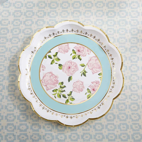 Tea Time Whimsy 9 in. Paper Plates - Blue (Set of 8) - InCasaGifts