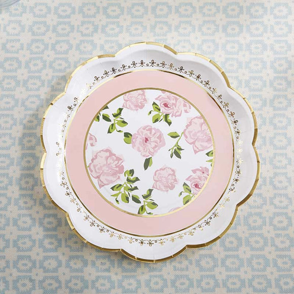 Tea Time Whimsy 9 in. Paper Plates - Pink (Set of 8) - InCasaGifts