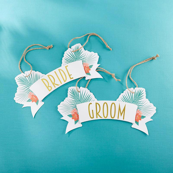 Tropical Chic Bride & Groom Chair Signs - InCasaGifts