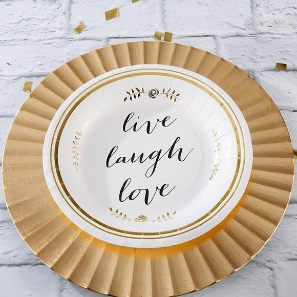 Live, Laugh, Love 9 in. Paper Plates (Set of 8) - CLOSEOUT - InCasaGifts