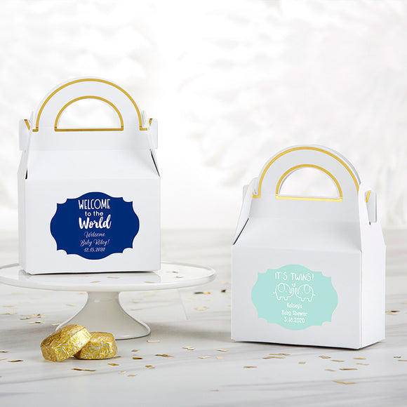 Personalized Gable Favor Box - Baby Shower (Set of 12) (Personalization Cost Included!)