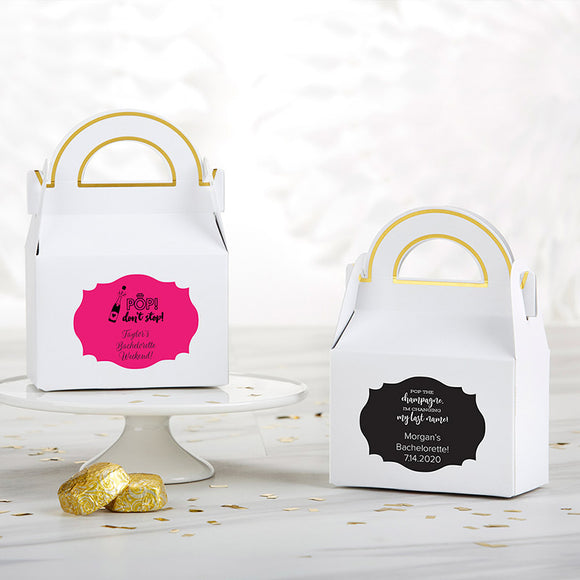 Personalized Gable Favor Box - Bachelor & Bachelorette (Set of 12) (Personalization Cost Included!)