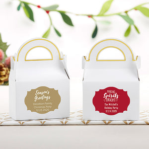 Personalized Gable Favor Box - Holiday (Set of 12) (Personalization Cost Included!)