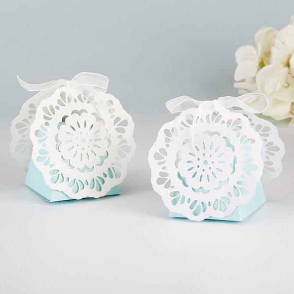 Something Blue Lace Favor Box (Set of 12) - InCasaGifts