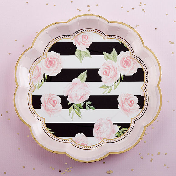 Floral Striped 9 in. Paper Plates (Set of 8) - InCasaGifts