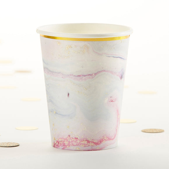 Marbleized 8 oz. Paper Cups (Set of 8) - InCasaGifts