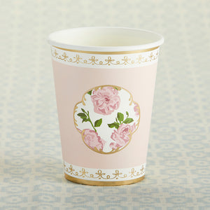 Tea Time Whimsy 8 oz. Paper Cups - Pink (Set of 8)
