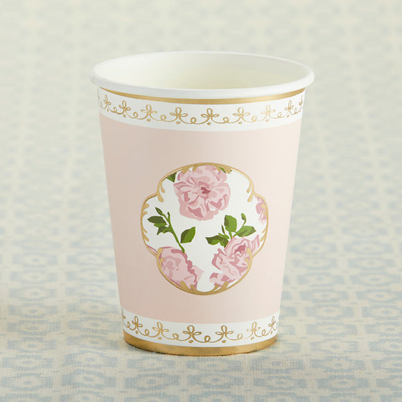 Tea Time Whimsy 8 oz. Paper Cups - Pink (Set of 8) - InCasaGifts
