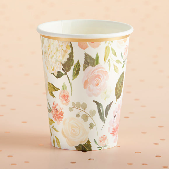 Floral 8 oz. Paper Cups (Set of 8) - InCasaGifts