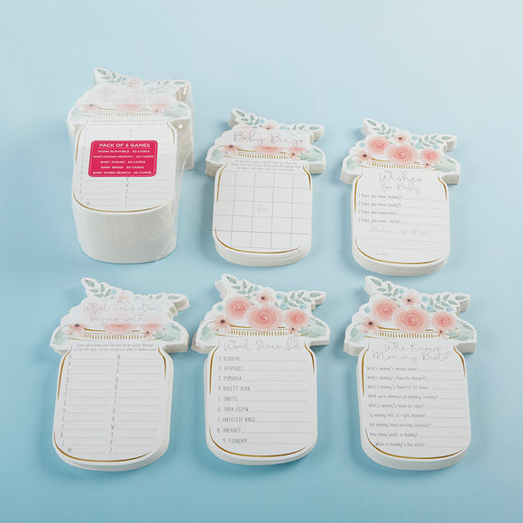 Floral Mason Jar Baby Shower 5-Pack Game Card Set (30 sheets each) - InCasaGifts