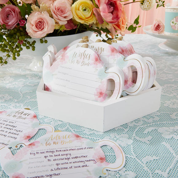 Floral Teapot Bridal Shower 5-Pack Game Card Set (30 sheets each) - InCasaGifts