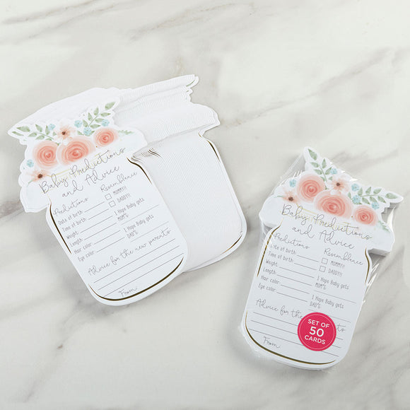 Floral Baby Shower Advice Card - Mason Jar (Set of 50) - InCasaGifts