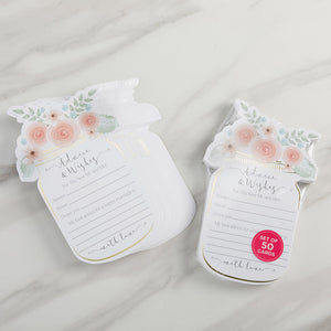 Floral Wedding Advice Card - Mason Jar (Set of 50) - InCasaGifts