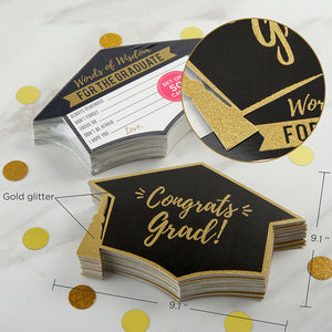 Graduation Advice Card - Gold Glitter Cap Shape (Set of 50) - InCasaGifts