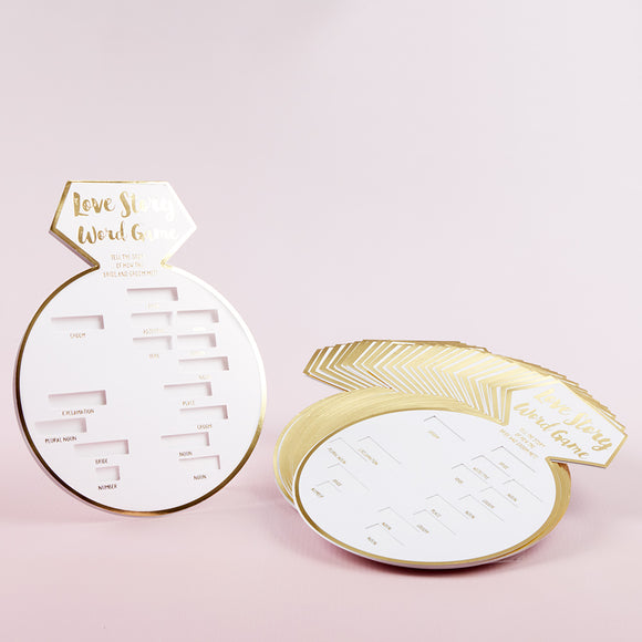 White Bridal Shower Game Card with Gold Foil - Ring Shape (Set of 30) - InCasaGifts