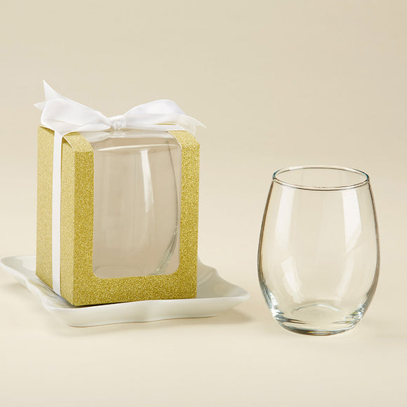 Gold 9 oz. Glassware Gift Box with Ribbon (Set of 12) - InCasaGifts