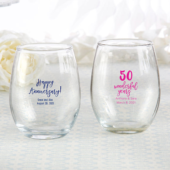 Personalized 9 oz. Stemless Wine Glass - Anniversary - InCasaGifts