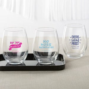 Personalized 9 oz. Stemless Wine Glass - Celebration - InCasaGifts
