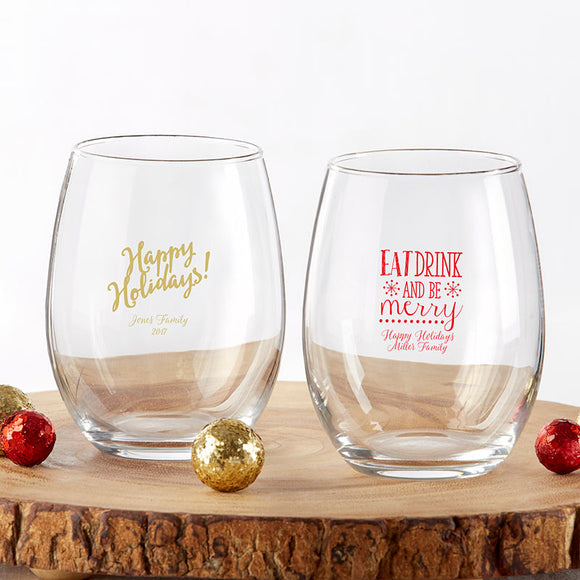 Personalized 9 oz. Stemless Wine Glass - Holiday - InCasaGifts