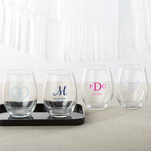 Personalized 9 oz. Stemless Wine Glass - Monogram - InCasaGifts