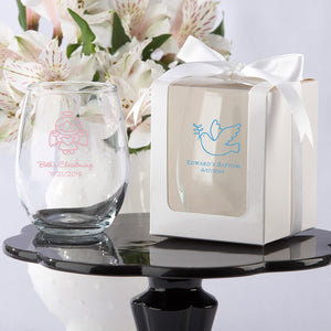 Personalized 9 oz. Stemless Wine Glass (Religious Designs) (White or Kraft Gift Box Available) - InCasaGifts