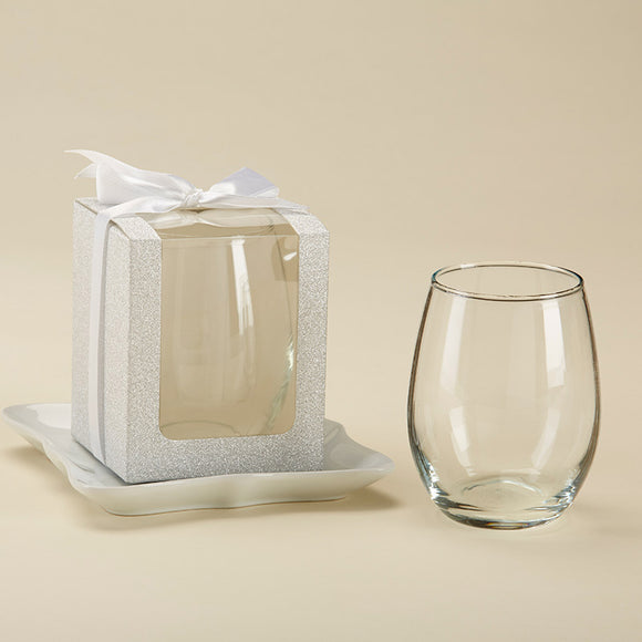 Silver 9 oz. Glassware Gift Box with Ribbon (Set of 12) - InCasaGifts