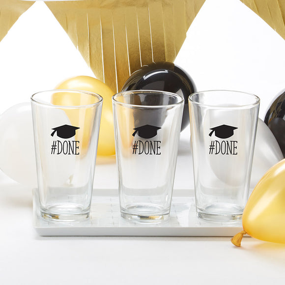 #Done Graduation Pint Glass 16 oz. (Set of 4)