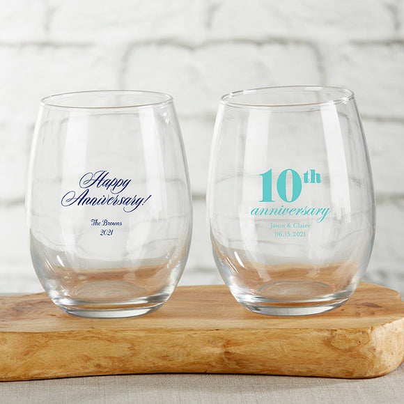 Personalized 15 oz. Stemless Wine Glass - Anniversary - InCasaGifts