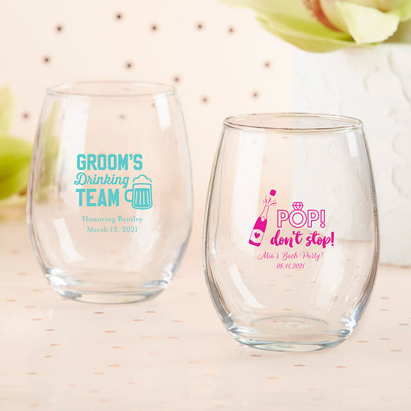 Personalized 15 oz. Stemless Wine Glass - Bachelor & Bachelorette - InCasaGifts