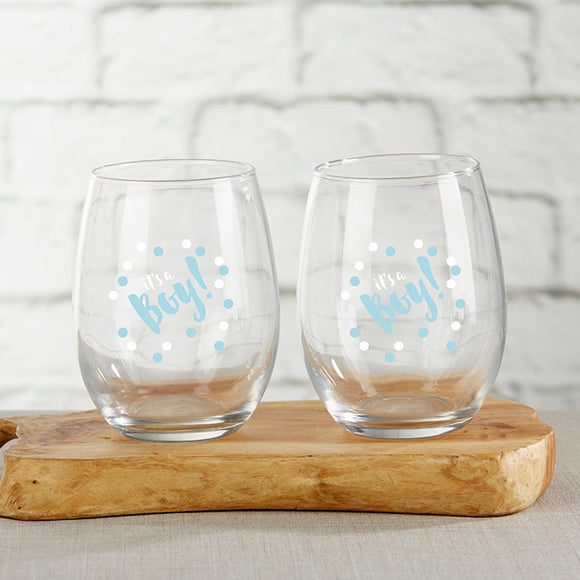 It's a Boy 15 oz. Stemless Wine Glass (Set of 4) - InCasaGifts