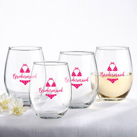 Bridesmaids Beach Bikini 15 oz. Stemless Wine Glass (Set of 4) - InCasaGifts