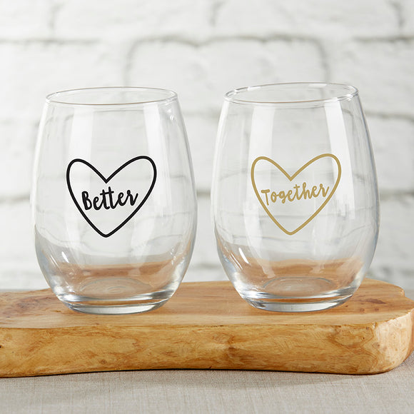 Better Together 15 oz. Stemless Wine Glass (Set of 2)