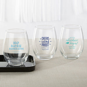 Personalized 15 oz. Stemless Wine Glass - Celebration - InCasaGifts