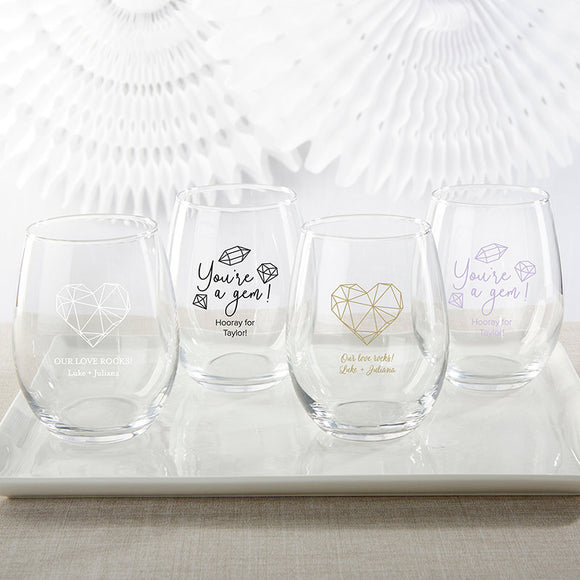 Personalized 15 oz. Stemless Wine Glass - Elements - InCasaGifts