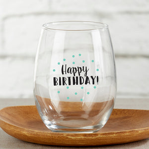 Happy Birthday 15 oz. Stemless Wine Glass (Set of 4)