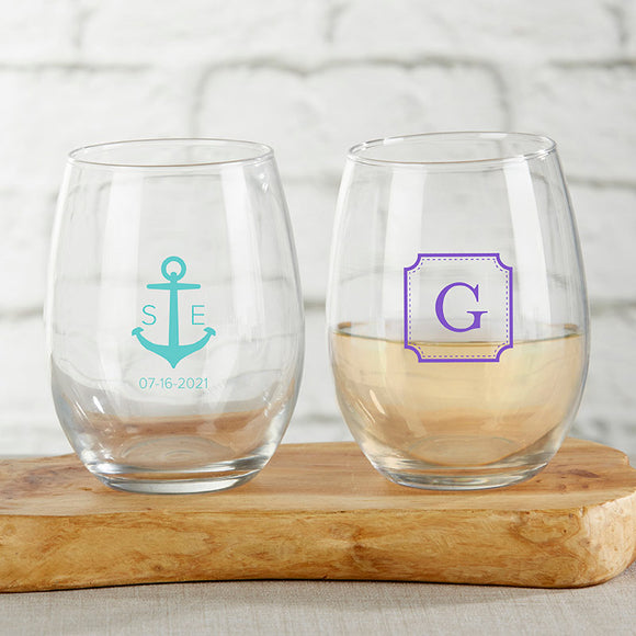 Personalized 15 oz. Stemless Wine Glass - Monogram - InCasaGifts
