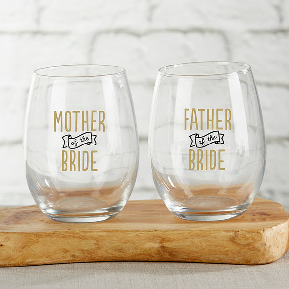 Parents of the Bride 15 oz. Stemless Wine Glass (Set of 2) - InCasaGifts