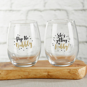 Pop The Bubbly 15 oz. Stemless Wine Glass (Set of 2)