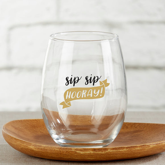 Sip Sip Hooray 15 oz. Stemless Wine Glass (Set of 4) - InCasaGifts