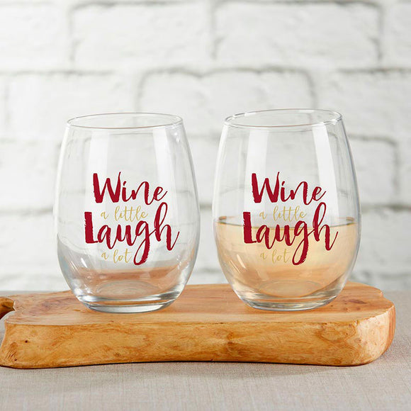 Wine A Little Laugh A Lot 15 oz. Stemless Wine Glass (Set of 4) - InCasaGifts