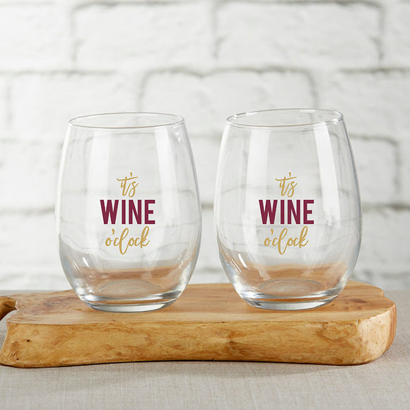 It's Wine O'Clock 15 oz. Stemless Wine Glass (Set of 4) - InCasaGifts