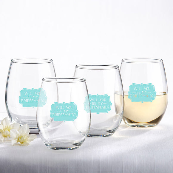 Will You Be My Bridesmaid Something Blue 15 oz. Stemless Wine Glass (Set of 4) - InCasaGifts