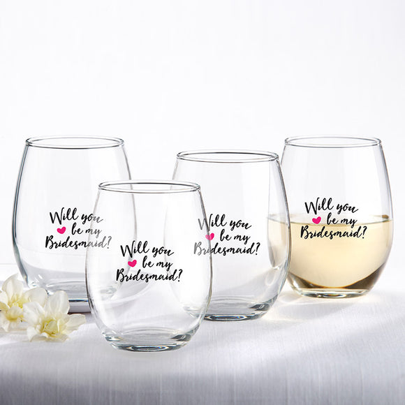 Will You Be My Bridesmaid Pink Heart 15 oz. Stemless Wine Glass (Set of 4)